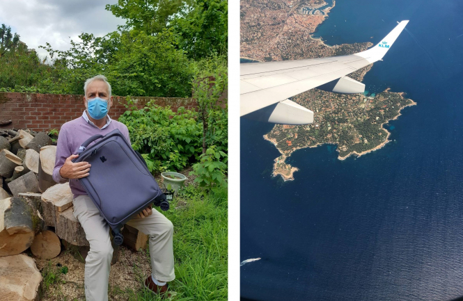 Writer Ken Seaton in the garden of the Edinburgh place in which he is self-isolating – and the view from his KLM flight after take off from Nice as it flies over Cap d'Antibes. Our experience flying Nice to Edinburgh with Covid and Brexit rules