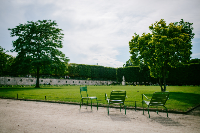 Empty chairs in the Tuilerie gardens in Paris