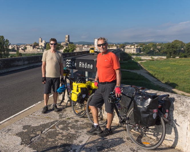 An image of Canadian cyclist Jeff Oates (left) on a trip to France in 2018