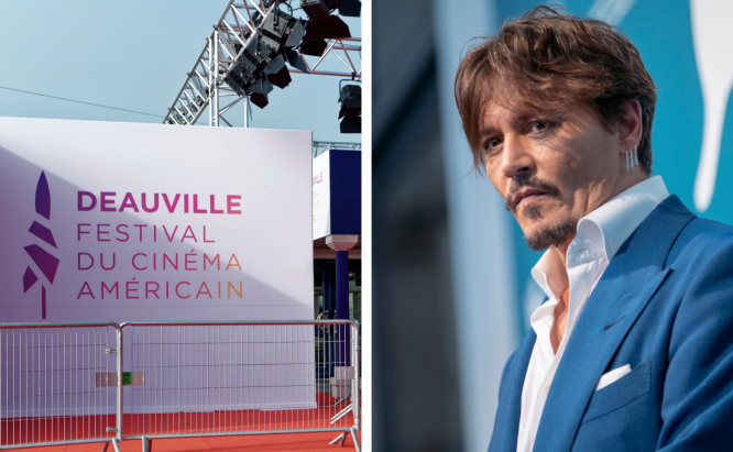 The Deauville American Film festival entrance on one side, Johnny Depp on the other, 2019.  Johnny Depp to appear at Deauville American Film Festival today