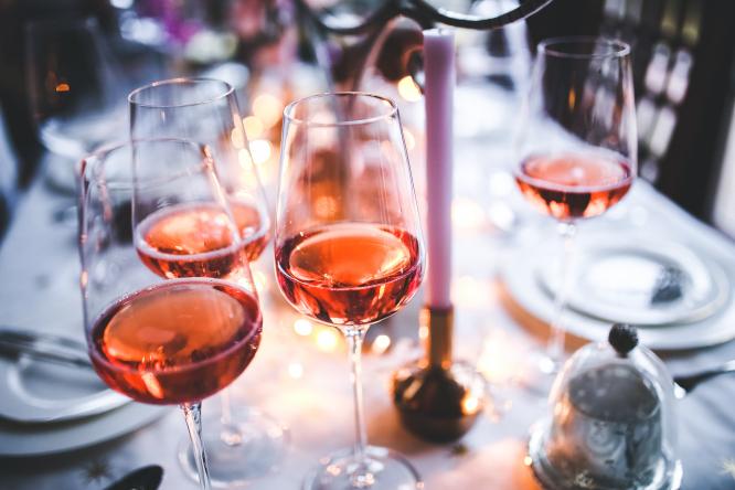 rosé wine in wine glasses