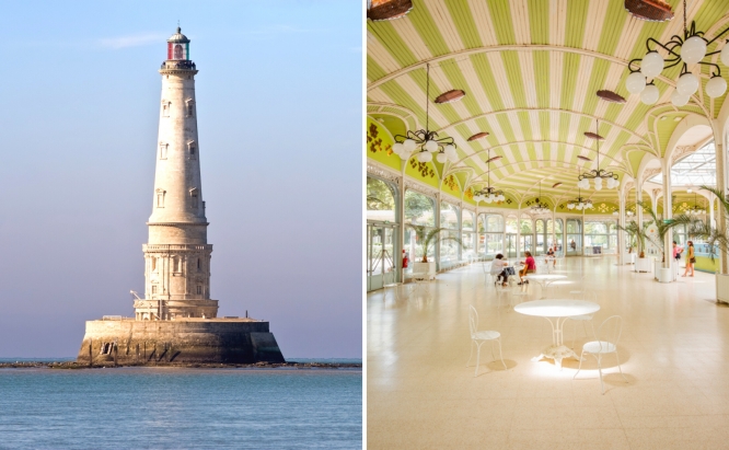 The Cordouan lighthouse (L) and the old pump room in Vichy (R). France's Cordouan lighthouse and Vichy waters on UNESCO heritage list
