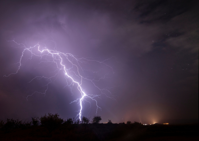 Lightning strikes. Violent storms and 100kph winds cause heavy damage in southwest France