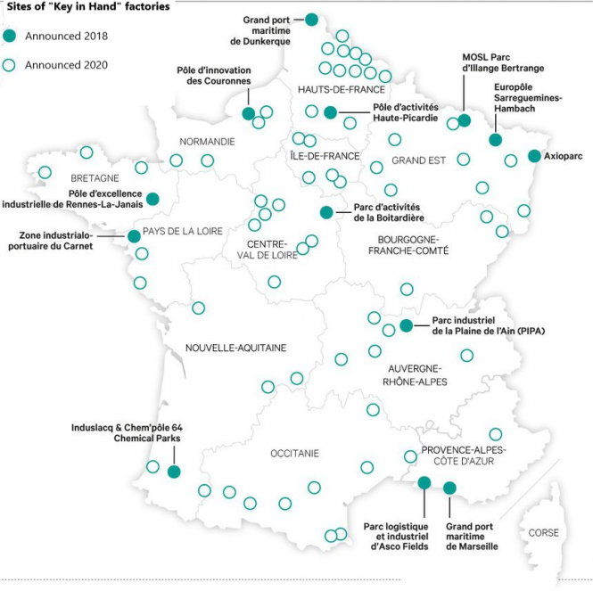 A map of the new factory sites in France. Photo from Connexion September print edition.