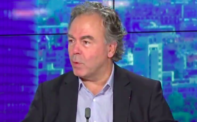 Luc Chatel, president of la Plateforme de la Filière Automobile, speaking on BFMTV. The vehicle industry boss is against an 'absurd' French eco-tax
