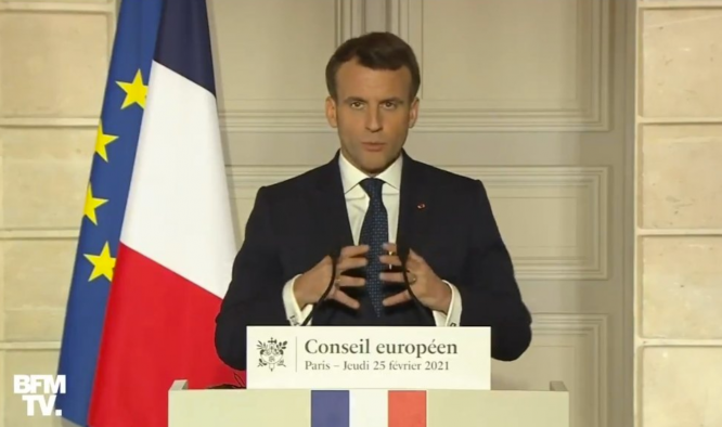 President Macron speaks at a EU video conference. President Macron raises idea of EU-wide Covid 'health pass'