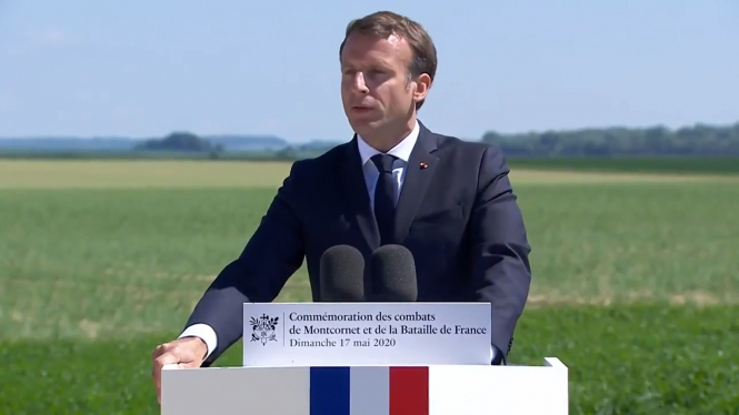 President Macron speaks at a wartime memorial event. President Emmanuel Macron is to visit London in memory of wartime 'call' General de Gaulle 1940 World War Two appeal