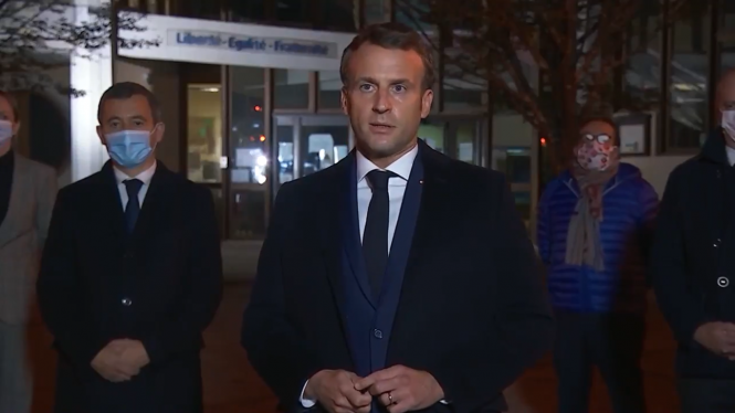 President Emmanuel Macron. He visited the scene of the incident where he denounced the attack