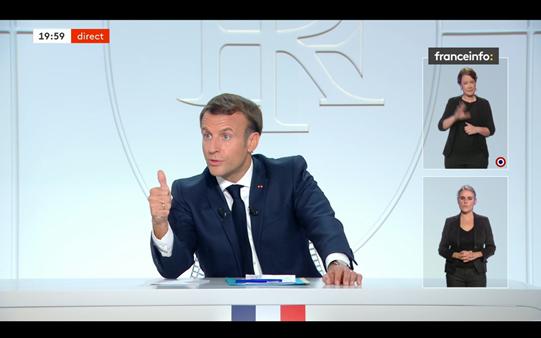 President Emmanuel Macron spoke live on France 2 on Wednesday evening