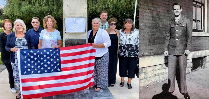 An image of Robert Whalen's nephews and nieces, holding an American flag in front of the monument dedicated to him. This sits next to an image of Whalen himself