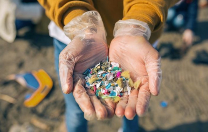 A handful of plastic from the ocean. EU debate rages on proposed ban on polluting microplastics