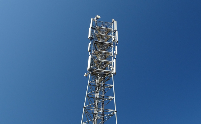 A mobile phone network mast. Dozens of 5G antennas have been vandalised in France during lockdown