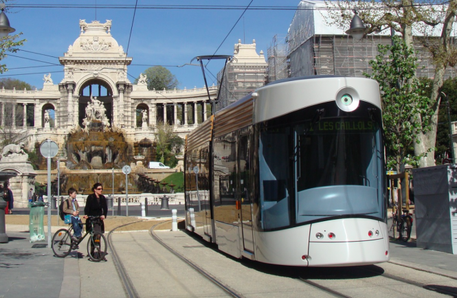A tram in Montpellier. Weekend public transport now is now free in Montpellier