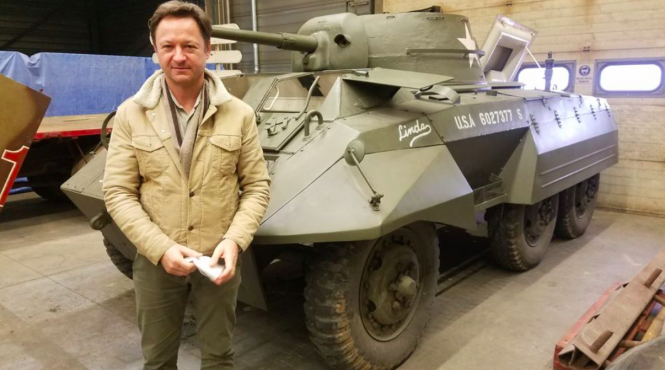 Museum owner Eric Kauffmann with one of the vehicles being auctioned at MM Park. Military museum near Strasbourg sells functioning tanks
