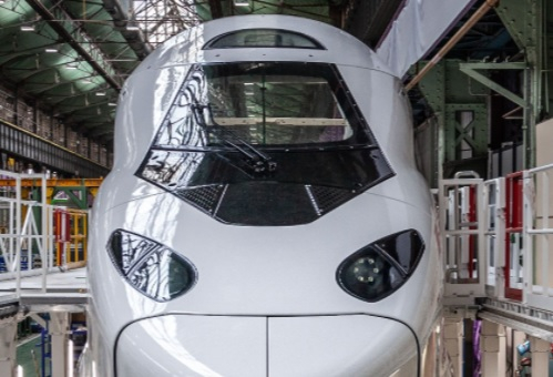 The power car or nose of the new white modern TGV M. First images of revolutionary 'TGV of the future' revealed in France