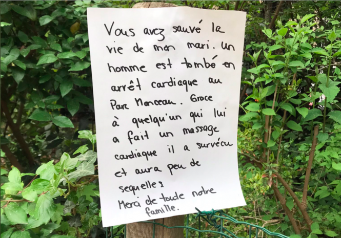 Note to life-saving stranger in Paris park. Twitter helps American in Paris find woman who saved husband's life