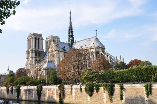 Notre Dame cathedral before the fire. Notre Dame historic stained glass may be replaced