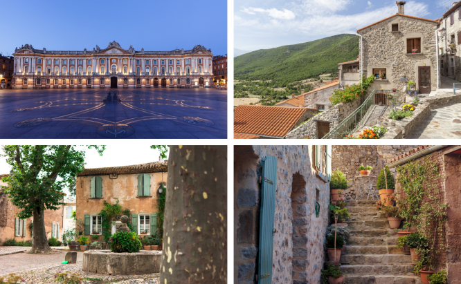 Homes in Occitanie, France; and the Capitole building in Toulouse