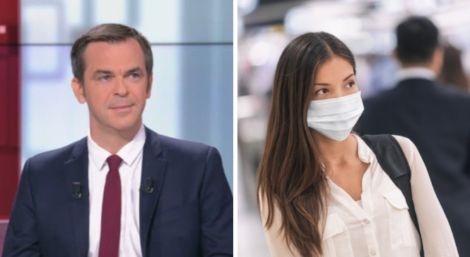 Olivier Veran on BFMTV, and a woman wearing a mask outdoors. Covid war could be won by autumn, says France's health minister