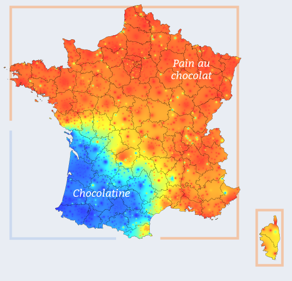 Map which shows the use of chocolatine and pain au chocolat