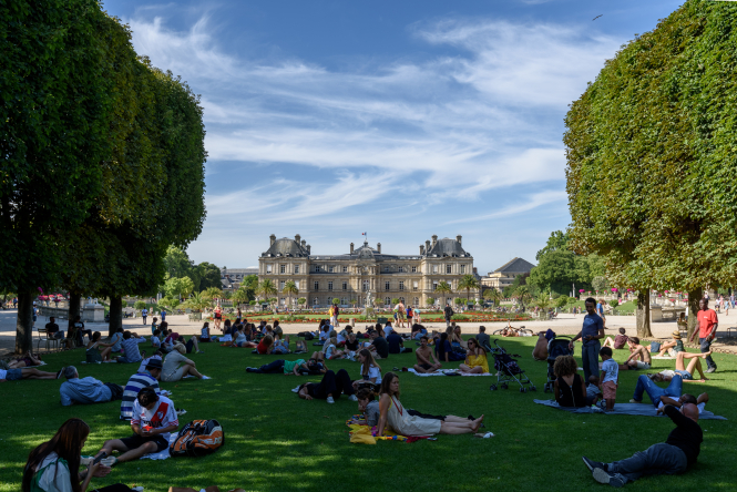 """People relaxing on the grass in the Jardin du Luxembourg, Paris. Covid-19 second wave """"not on horizon"""" in France"""