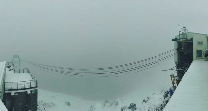 The snowy view from the camera at 2,800m at the Pic du Midi. French weather: Floods, tornados, hailstones...and now snow in June