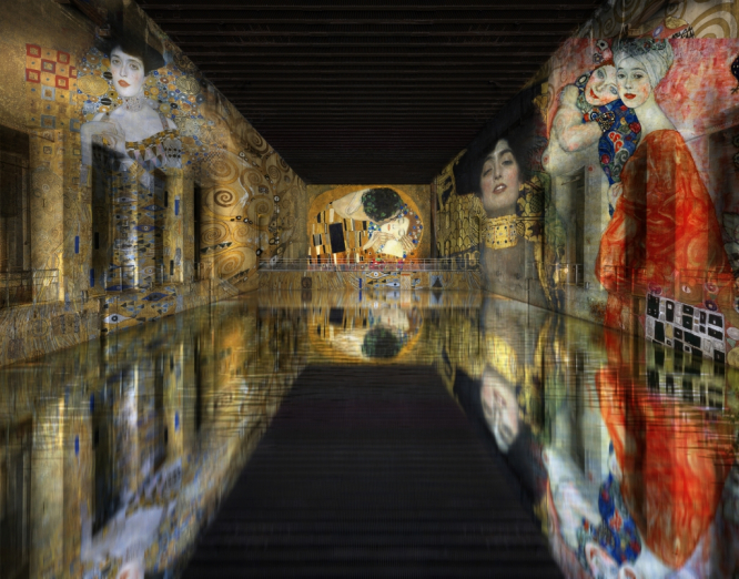A simulation of the installation showing some of Gustav Klimt's best known paintings at Bordeaux's 'Bassins de Lumières'.