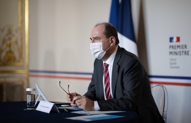 Prime Minister Jean Castex during a meeting. France steps up Covid rule checks to 'avoid lockdown'