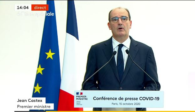 French Prime Minister Jean Castex speaks during a televised speech on Thursday (October 15)