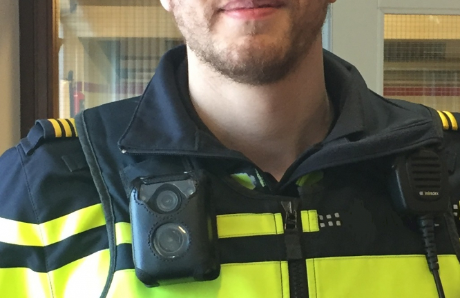 A police officer in Amsterdam wears a body camera. All police in France will wear body cameras by July 2021.