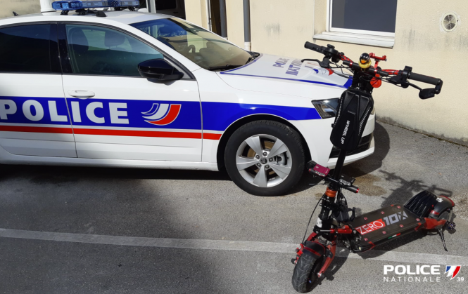 Police photo of the confiscated scooter. French police arrest man riding electric scooter at 57kph