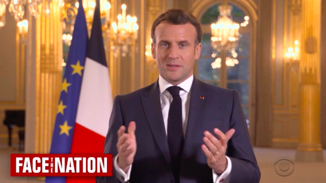President Macron being interviewed. Macron: Vaccinated Americans can travel to France from early May