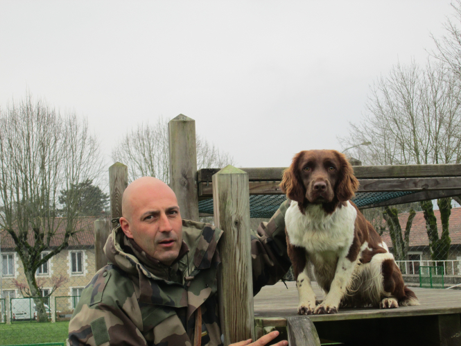 Adjudant Bruyant and his Springer Spaniel Jilili