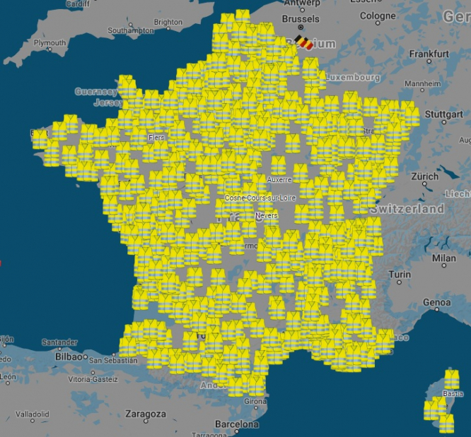 Map Of Saint Quentin France.Gilets Jaunes Map Shows Locations Of Fuel Protests