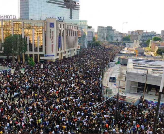Protestors on a street in north Paris. Around 20,000 people gathered at a Black Lives Matter protest in Paris on June 2, 2020.