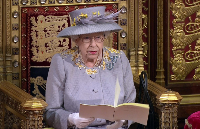 Queen Elizabeth II during the Queen's Speech yesterday. French foie gras farmers invite Johnson to visit and not limit sales