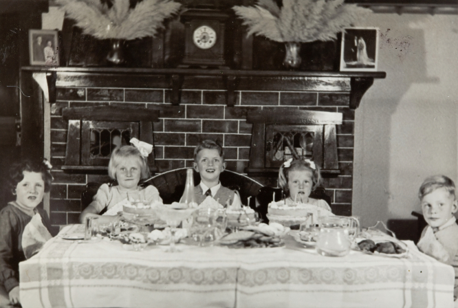 Three Girls & Two Boys Celebrating Girl's Birthday, Dining Room, Caulfield, 1946