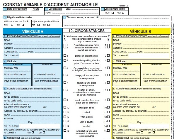 French driving accident form. Article: Reader question, answered: Do I need an accident form when driving a British car in France? Photo from Connexion October print edition