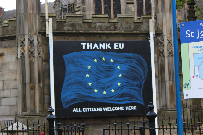 'Thank EU' sign in Edinburgh, Scotland