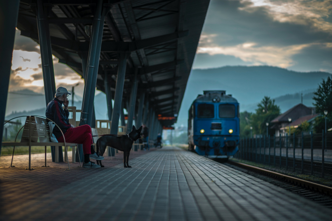 Old man with dog in a train station.