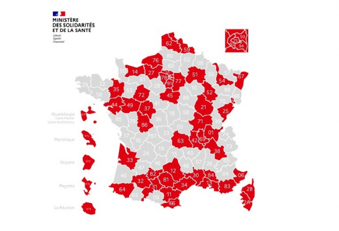 A map showing more than 50% of departments in France are red. Covid-19 France: More than half the country now 'red' zone coronavirus as schools relax rules