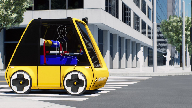 A concept art design of the yellow electric Renault Ikea car being driven on a road. Renault and Ikea team up to make a flat-pack car you build at home