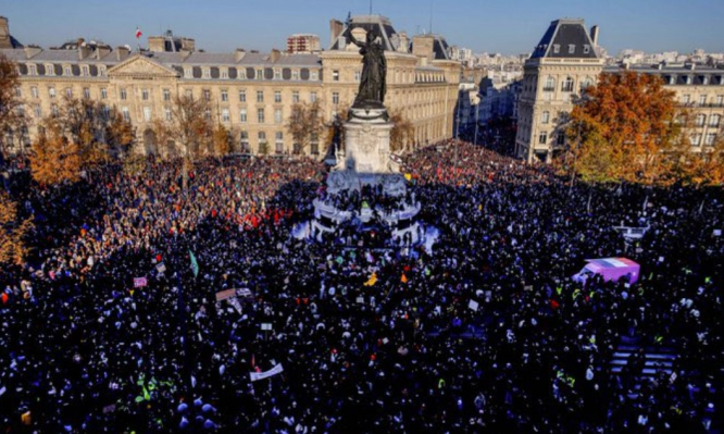 Huge crowds gather in protest across France. Thousands protest across France against new 'security law'