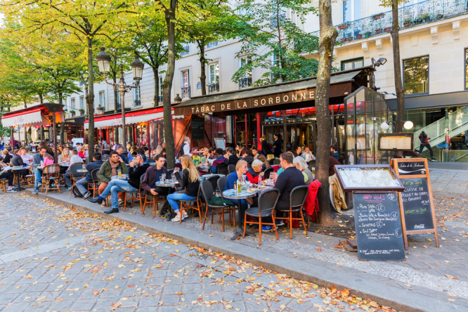 Street restaurants beside Sorbonne University in the Latin Quarter,  Paris. Eating out, shops: What changes for Covid rules in France from June 30