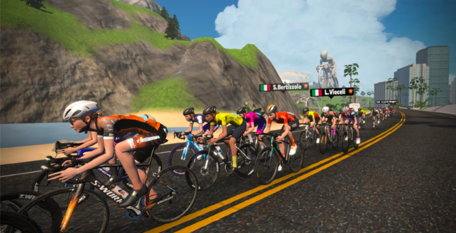 Riders in the second stage of the virtual Tour de France. What is the virtual Tour de France?