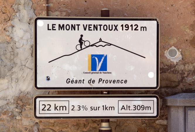 Road sign to Mont Ventoux in Bedoin, France. Mont Ventoux: Tour de France 2021 climbs the 'Bald Giant' today