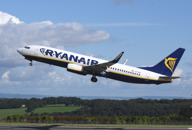 A Ryanair plane flying. A London-France Dordogne Bergerac Ryanair flight came within '40 seconds of crashing' says BEA report.