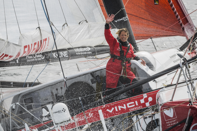 Sam Davies on her yacht in the third Vendee Globe. Vendée Globe: Sam Davies abandons race in moving video
