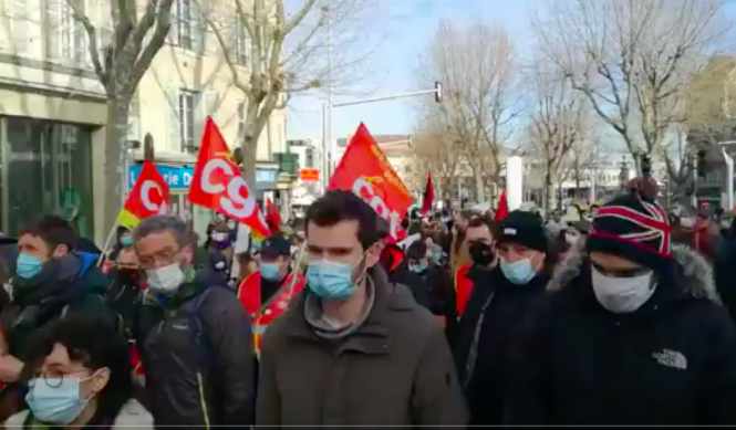 Protestors in the streets in Clermont-Ferrand. French education workers and students to strike today