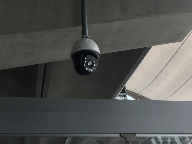 Huawei CCTV camera security cam in a building. French city warned over 'intrusive' use of CCTV to check number plates